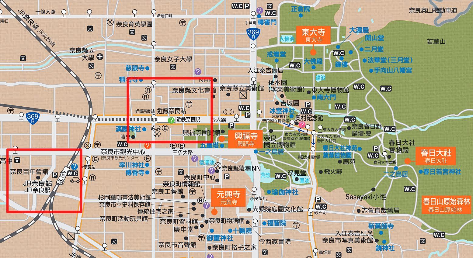 奈良-景點-推薦-市區-地圖-Map-自由行-旅遊-觀光-日本-Nara-Tourist-Attraction