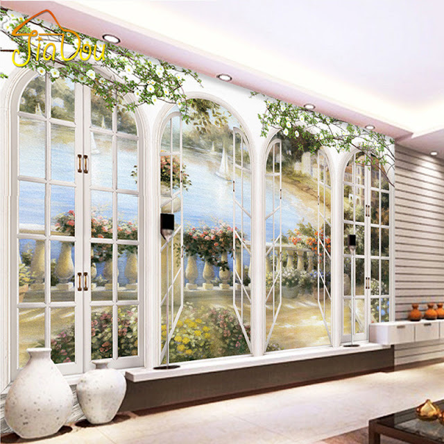 Scenic Wall Murals 3D Photo Wallpaper Bedroom Wall Murals Livingroom Window View