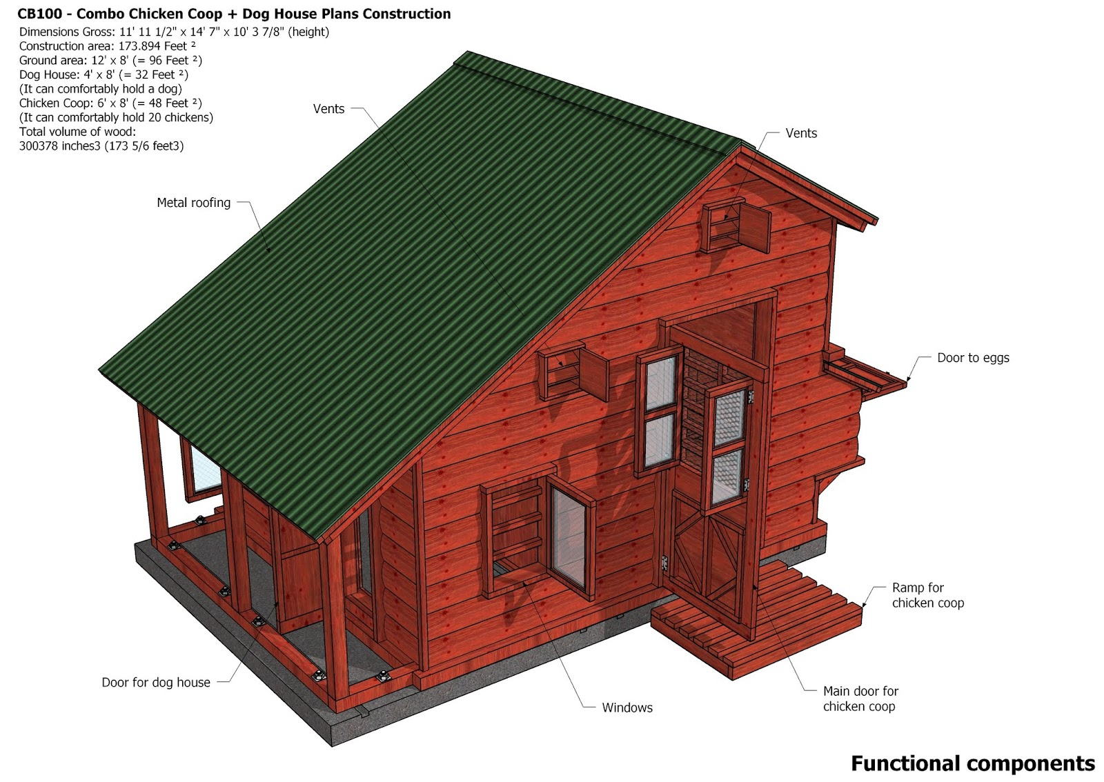 Home garden plans cb100 combo plans chicken coop for Dog house plans pdf