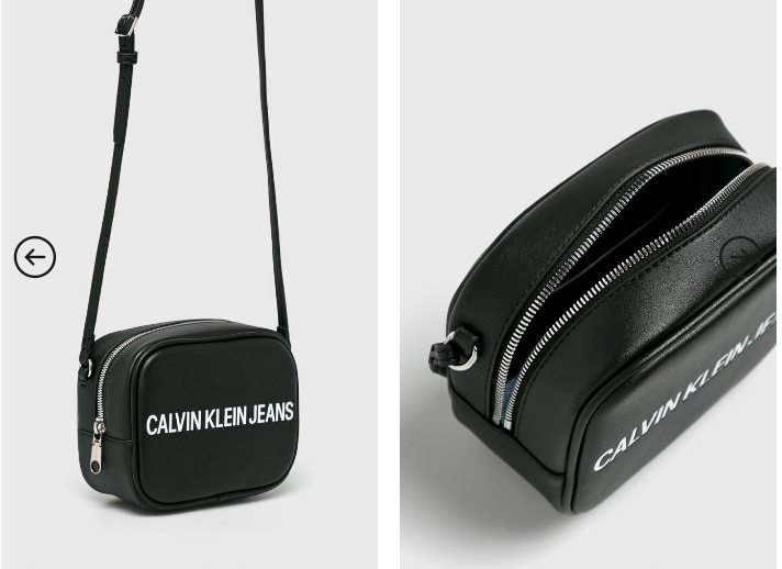 Calvin Klein Jeans - Poseta mica casual de umara neagra cu logo mare alb