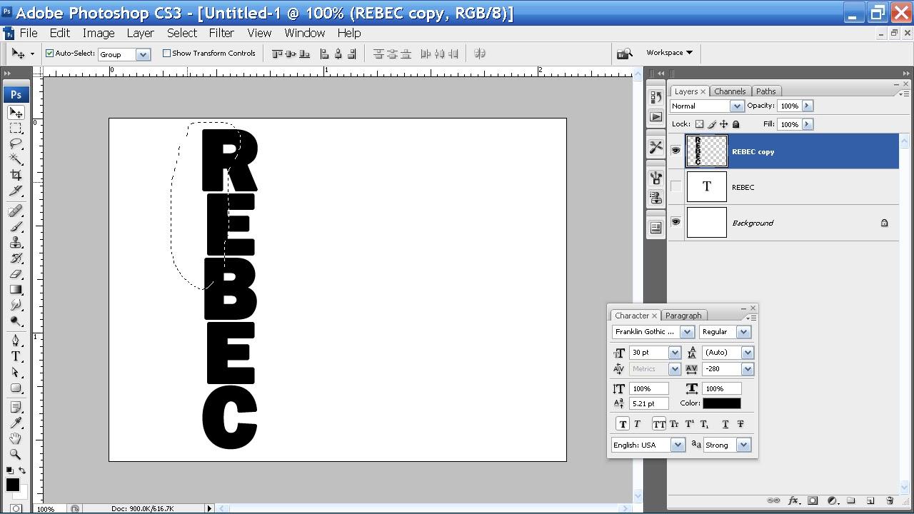 Membuat tulisan kebawah dengan photoshop dan efect patah