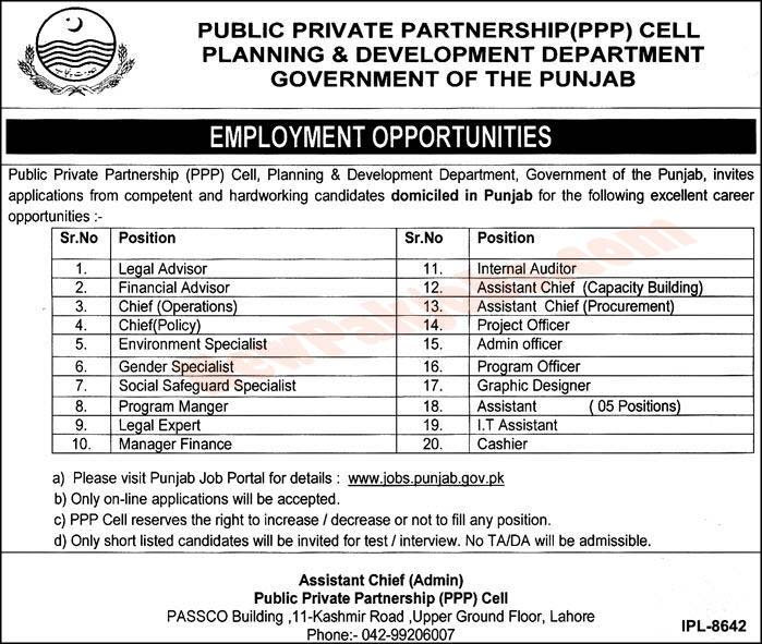 Latest jobs in Public Private Partnership PPP Cell P&D Department