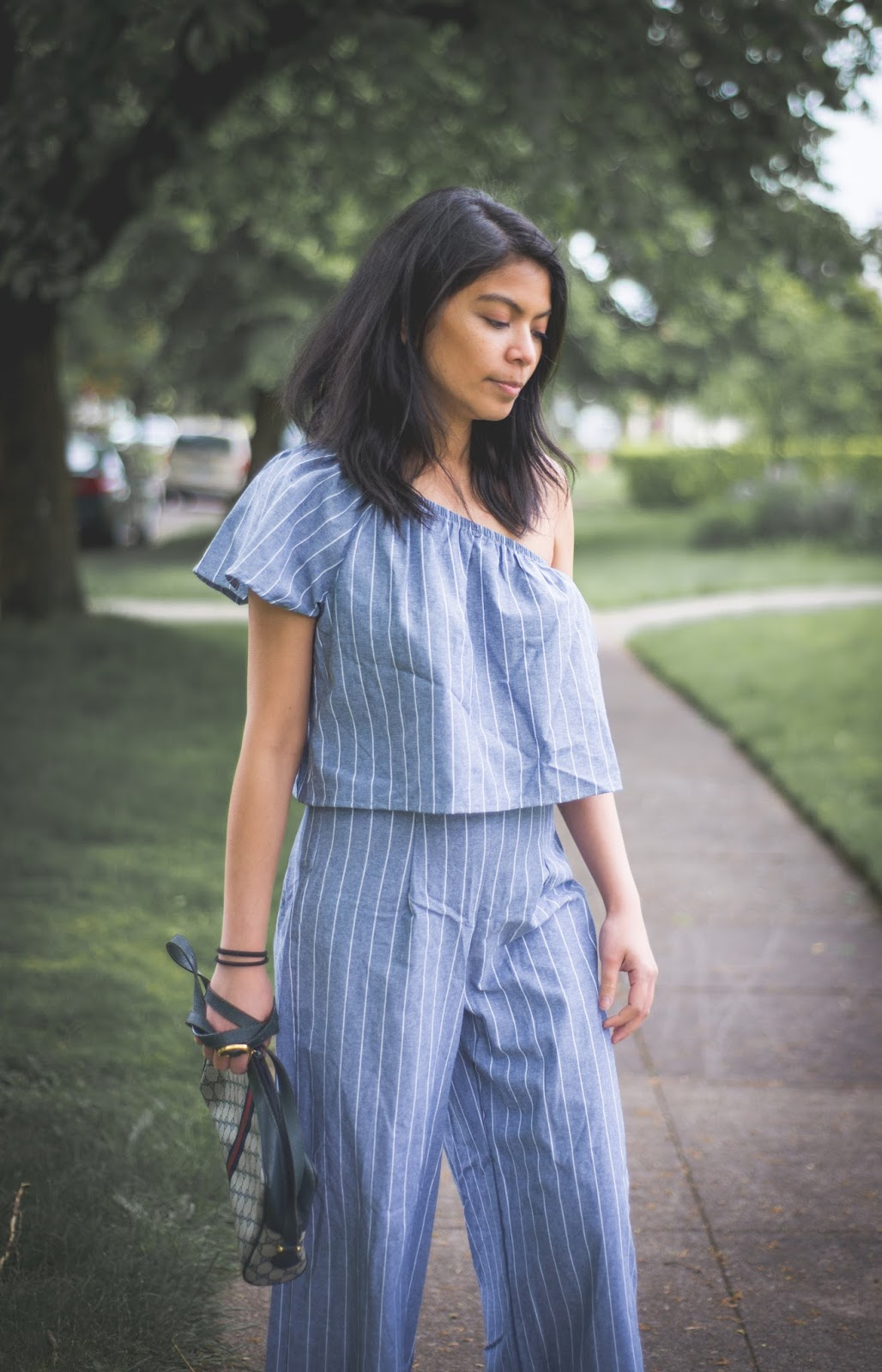 one shoulder ruffled top, wide leg pants, high waist, striped top, mules, summer look, gucci, vintage, portland blogger, fashion blogger, summer look, trend