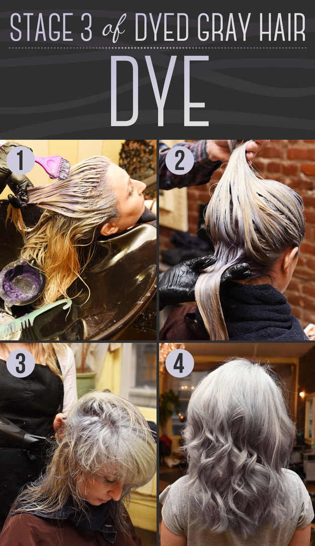 the stylist will apply the dye, which actually looks purple