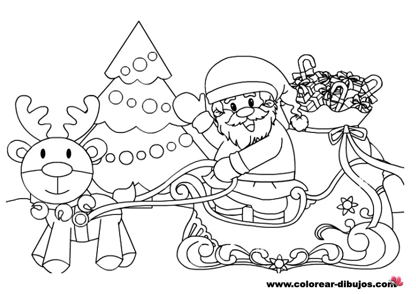 Maestra de Infantil Los renos de Pap Noel para colorear