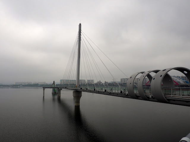 Chuncheon Skywalk on Uiamho Lake on a misty morning, Chuncheon, South Korea