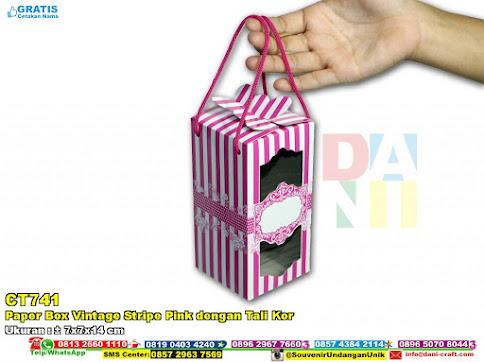Paper Box Vintage Stripe Pink Dengan Tali Kor