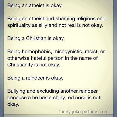 Atheist Christian Reindeer Ok Funny Joke Picture