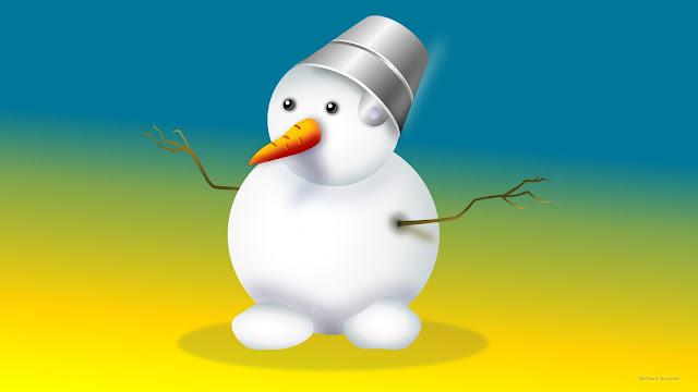 Sneeuwpop in blauwe en gele kleuren
