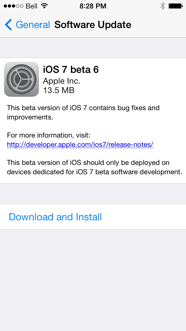iOS 7 Beta 6 Download Now