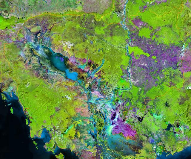 Gambar Peta negara Kamboja tampak dari satelit