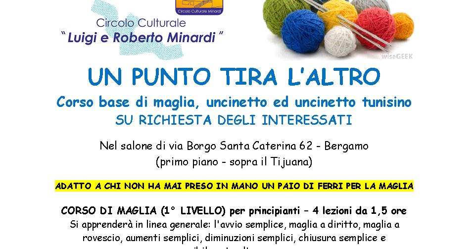 Circolo Culturale Minardi Bergamo Corso Di Base Maglia Uncinetto