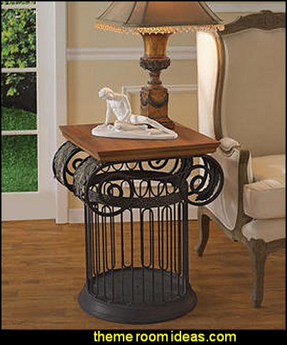 Ionic Metal Column Side Table  mythology theme bedrooms - greek theme room - roman theme rooms - angelic heavenly realm theme decorating ideas - Greek Mythology Decorations - heavenly wall murals - asngel wings decor - angel theme bedrooms