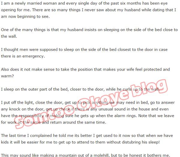 My husband prefers to sleep close to the wall - woman laments