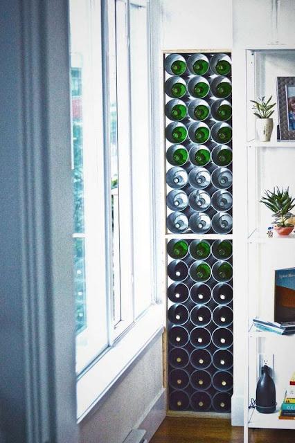 Wine Store Wall Idea Niche Pipes Metal Storage