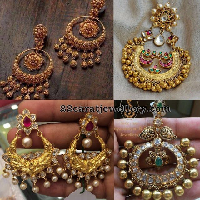 Broad Chandbalis in Antique and Pachi Work