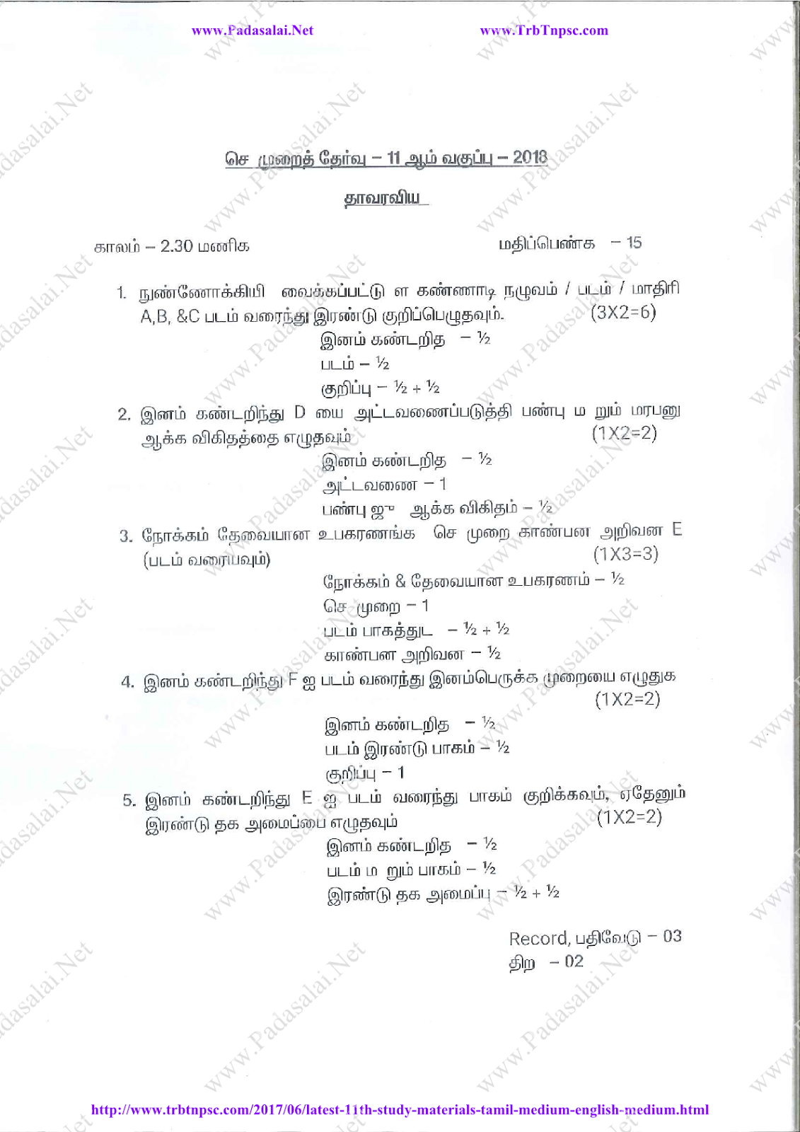 11th Practical Subject Codes & Mark Allotment Instructions