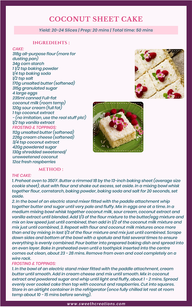 COCONUT SHEET CAKE RECIPE