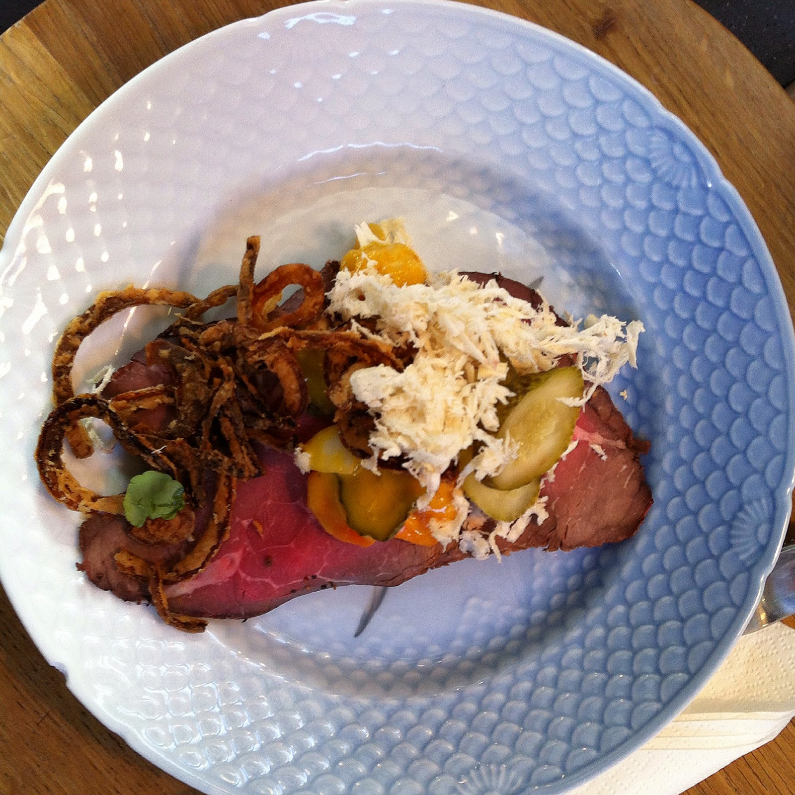 a roast beef open faced sandwich in Tivolihallern in Copenhagen