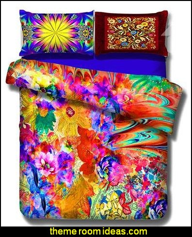 Multi-colored Flower Print 4-Piece Cotton Duvet Cover Sets