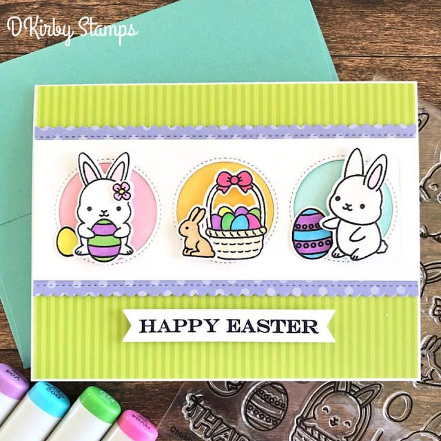 Sunny Studio Stamps: Chubby Bunny Window Trio Circle Dies Customer Card Share by Dana Kirby