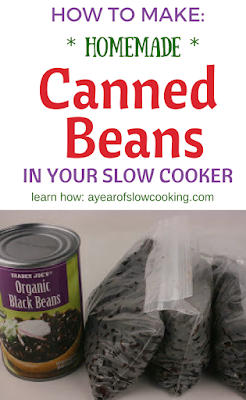 Cook dry beans in the crockpot slow cooker perfectly. You'll never need to buy canned beans again! 1 pound of dry beans equals 3 cans of canned -- that means it's 1/3 the price if you stick with dried beans!