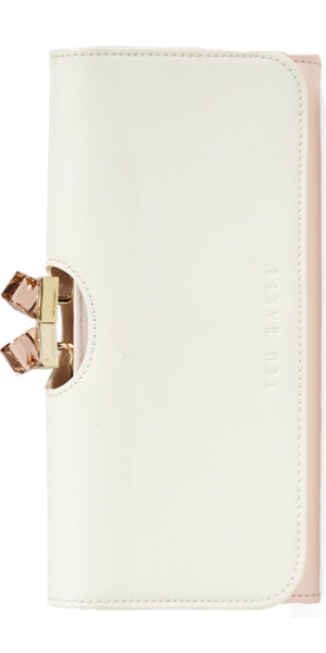 Ted Baker London 'Crystal Frame' Patent Leather Matinee Wallet nude pink