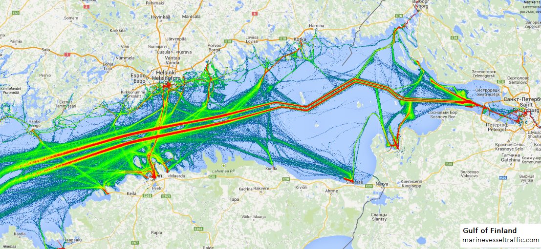 Gulf Of Finland Map GULF OF FINLAND SHIP TRAFFIC | Ship Traffic