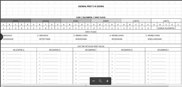 Contoh Jadwal Piket Kelas 5K