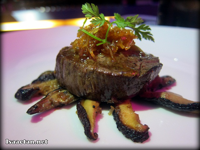 Experience #2: Wagyu Beef tournedoes with candied ginger and sauteed shiitake mushrooms