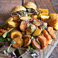 White and sweet potato salad roasted with ghee.