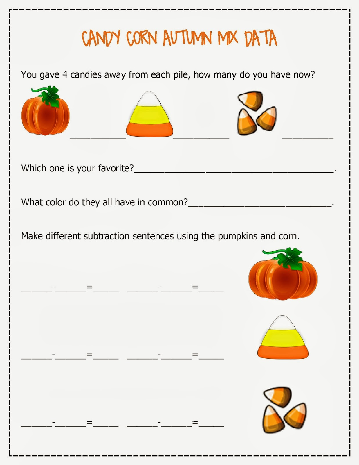 Candy Corn Autumn Mix Free Math Worksheets