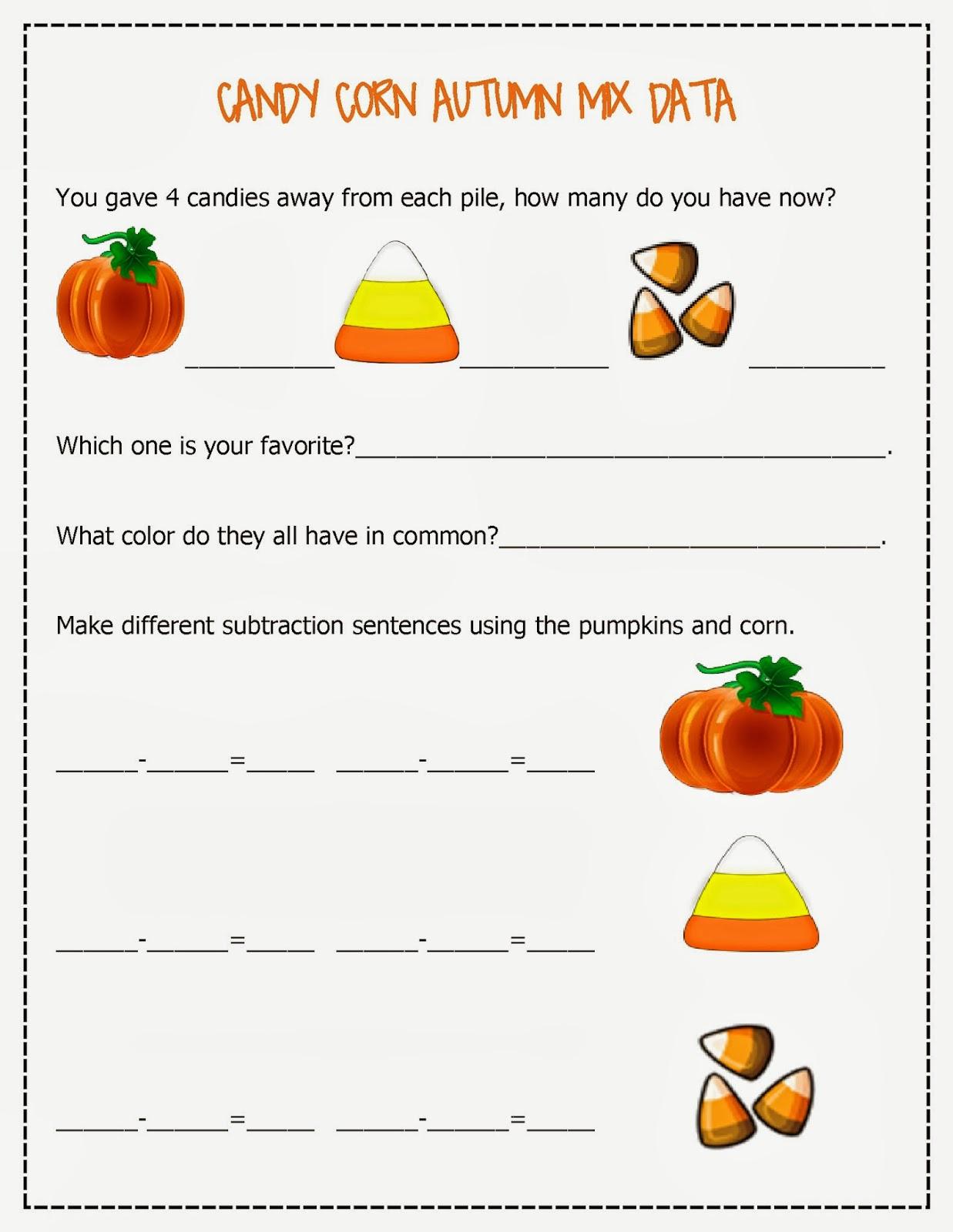 Candy Corn Autumn Mix Free Math Worksheets