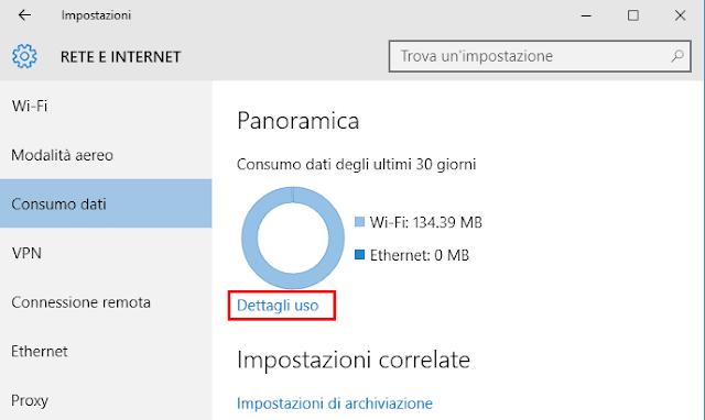 Windows 10 schermata consumo dati ultimi 30 giorni