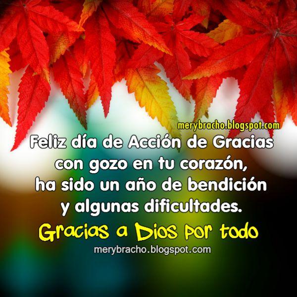 feliz dia de gracias frases con bonita imagen para saludar en noviembre