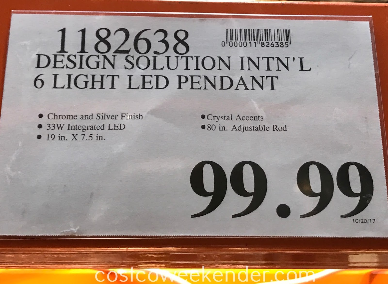 Deal for the Design Solution International 6 Light Adjustable Pendant at Costco