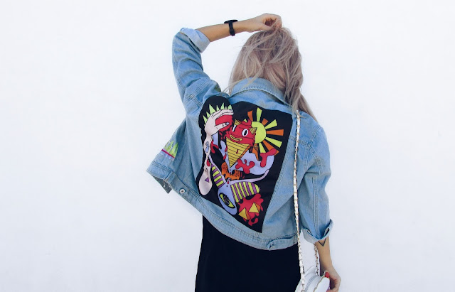 cartoon denim jacket outfit