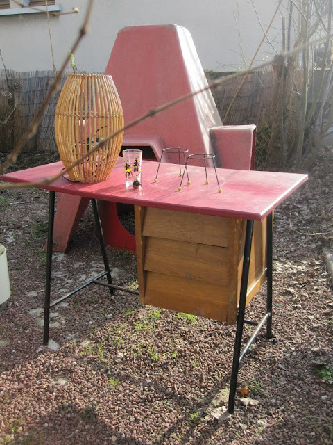 1950 50s table desk bureau atomic stand vintage glass bamboo lamp 1960 60s
