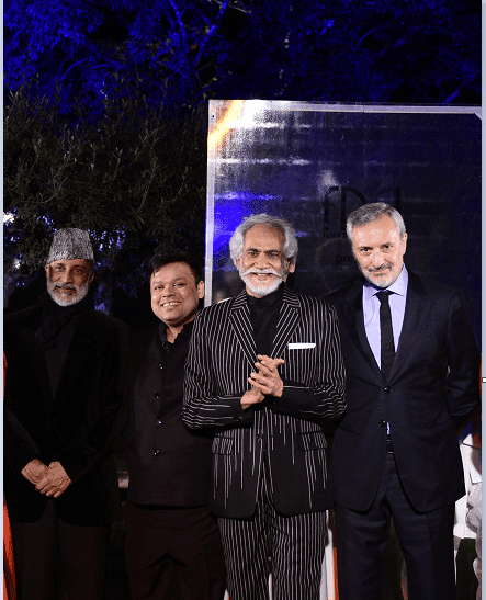 Aman Nath, Chairman of Neemrana Hotels, Vinay Gupta, owner of Shri Hari DiaGems, Sunil Sethi, President FDCI and H.E. Lorenzo Angeloni, Italian Ambassador to India