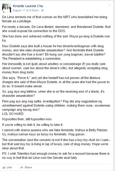 Netizen On De Lima: 'Pag Siya Ang Biktima, Character assasination, Pag Siya Nagsalita Investigation'