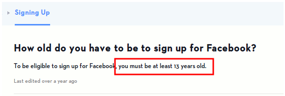 Facebook Age Requirement