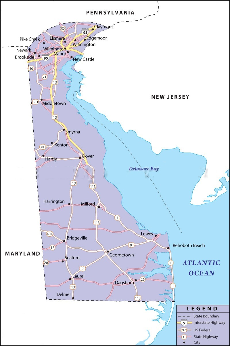 Map Of Delaware State Map Of USA - Delaware us map