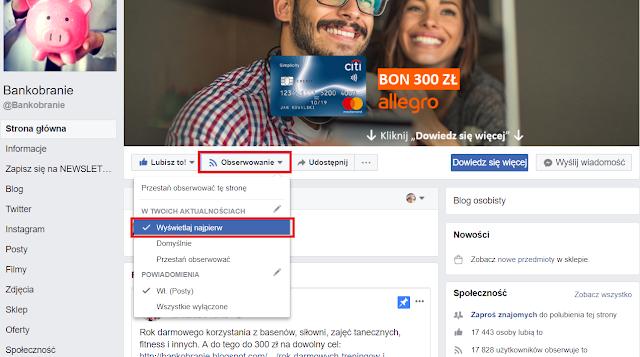Jak obserwować Bankobranie na Facebooku