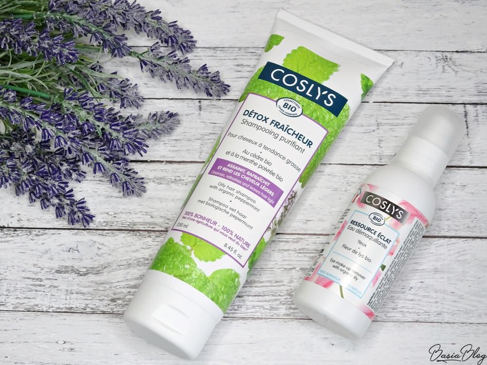 Coslys szampon do włosów przetłuszczających się, Coslys płyn do demakijażu z ekstraktem z lilii, dobry szampon do włosów, dobry płyn do demakijażu
