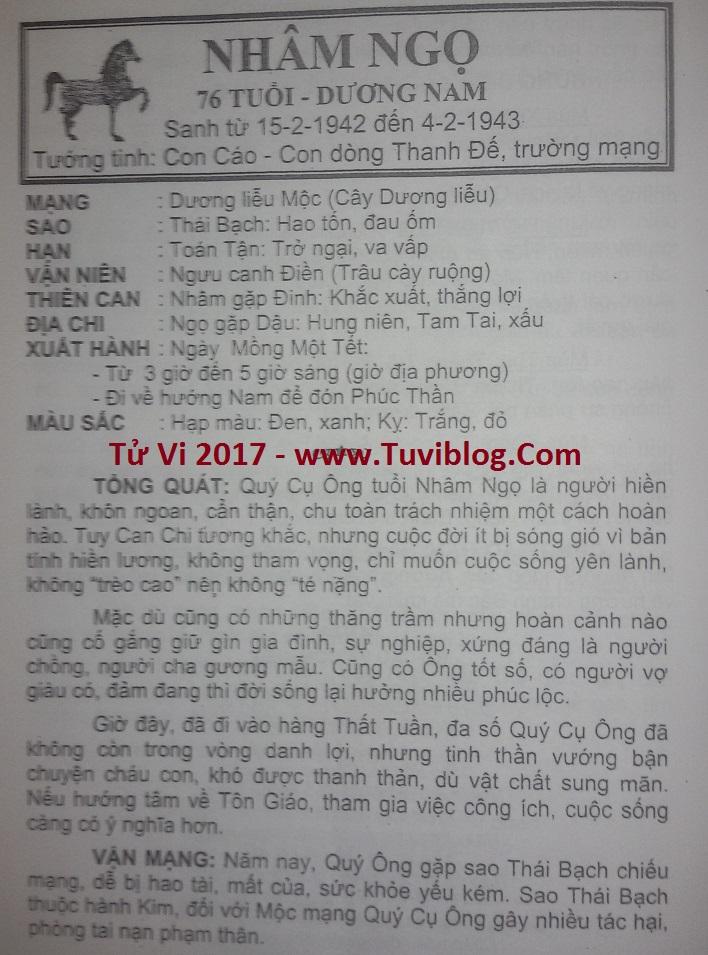 Tu vi 2017 Nham Ngo 1942 nam mang