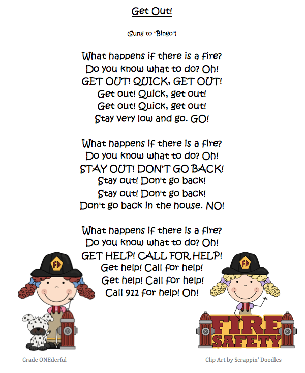 Grade ONEderful: Fire safety poem called Get Out