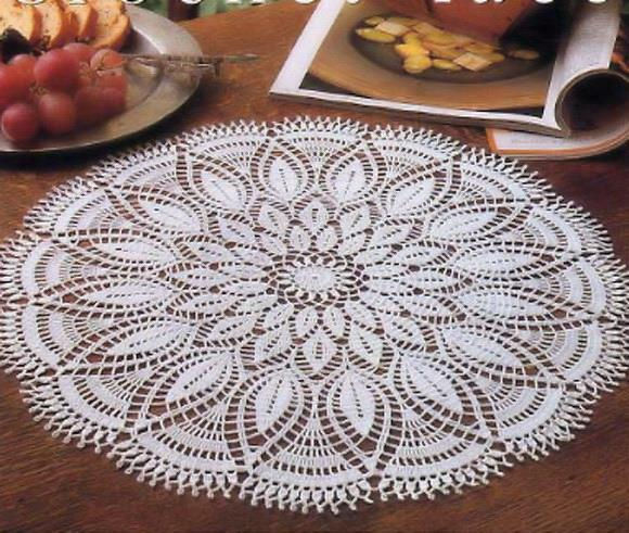 crochet doily pattern lace doily round white 33 rows no:26