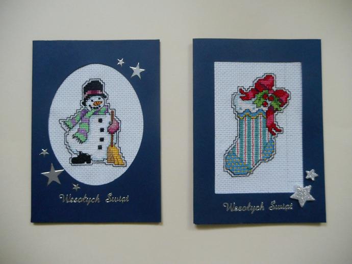 kartki z haftem świąteczne