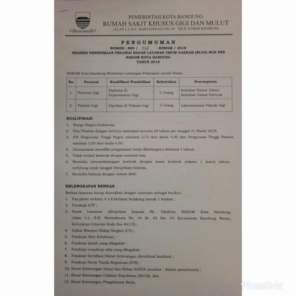 Seleksi Penerimaan Pegawai BLUD Non PNS RSKGM Kota Bandung ...