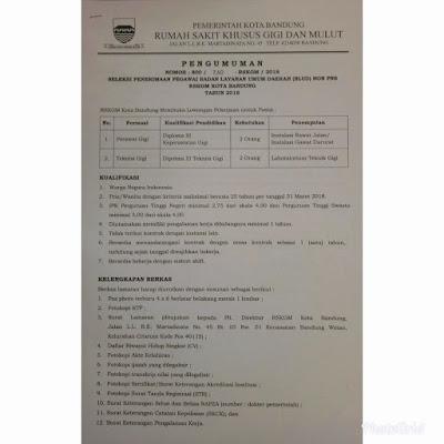 Seleksi Penerimaan Pegawai Badan Layanan Umum Daerah (BLUD) Non PNS RSKGM Kota Bandung Tahun 2018